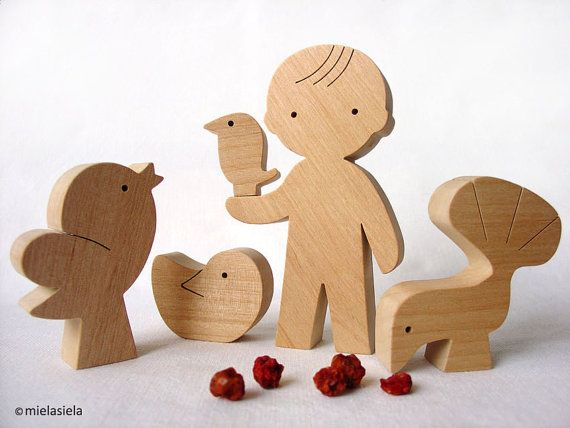 Little wooden birds - Boy and birds - waldorf natural wood toy - Gift ideas - wooden figurines