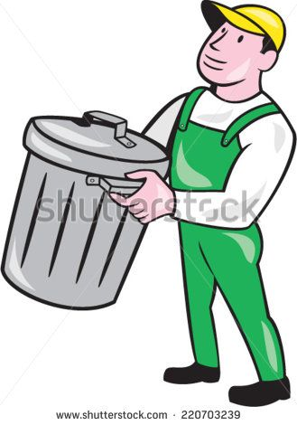Illustration of a garbage collector carrying garbage waste rubbish bin looking to the side on isolated white background done in cartoon style.