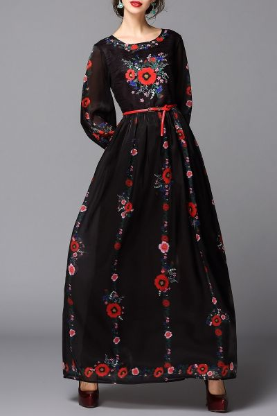 Bymegyn Black Embroidered Belted Maxi Dress | Maxi Dresses at DEZZAL
