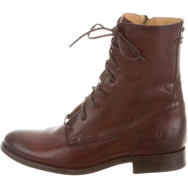 Pre-owned Frye Leather Lace-Up Ankle Boots ($125) ❤ liked on Polyvore featuring shoes, boots, ankle booties, brown, brown booties, brown leather booties, lace-up ankle boots, brown lace up booties and short brown boots