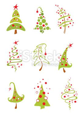 Modern christmas trees Royalty Free Stock Vector Art Illustration Sugar cookie décor?