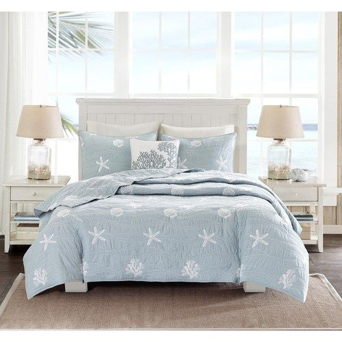 Bring the soft colors of the coast indoors with the new casual Seaside Embroidered Blue 4-piece coverlet collection.