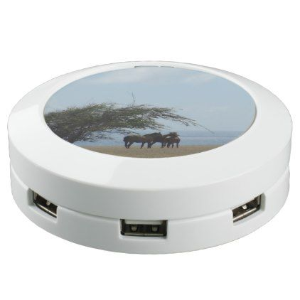 #Tropical Beach Horses Browsing USB Charging Station - #travel #electronics