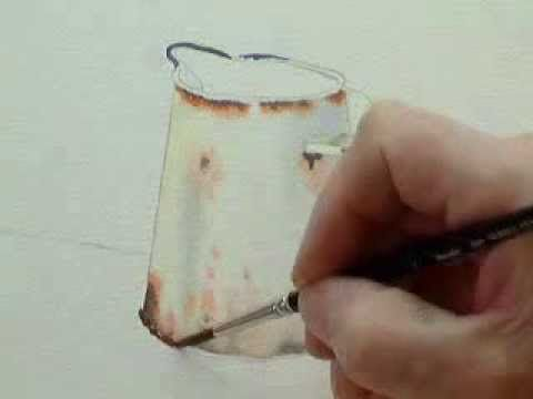 Part 1, Watercolour demo painting a rusty jug.