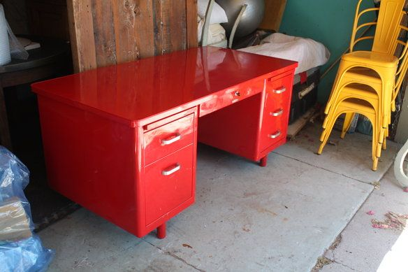 Vintage Red Metal Desk