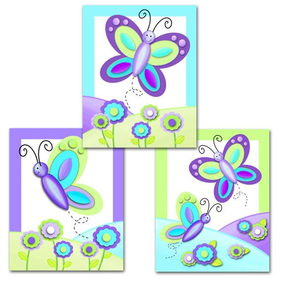 Set of 3 8x10 Pretty Purple Butterfly Girls Bedroom por ToadAndLily