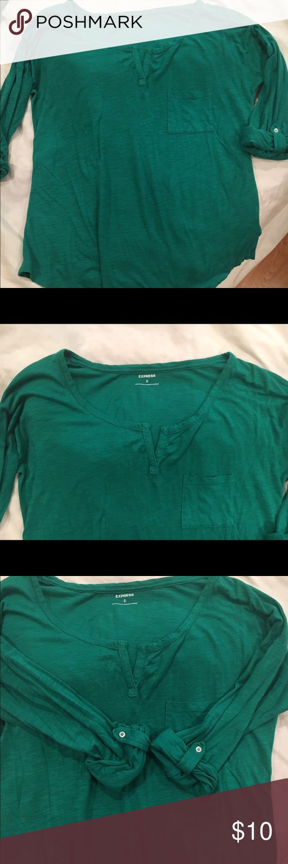 Express long sleeve shirt- folded sleeves Express long sleeve shirt- folded sleeves. Size medium. Pocket on shirt. Long shirt, darker green color, in great condition Express Tops Blouses