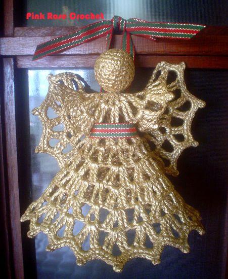 \ PINK ROSE CROCHET /: Natal Anjo de Crochê Pintado