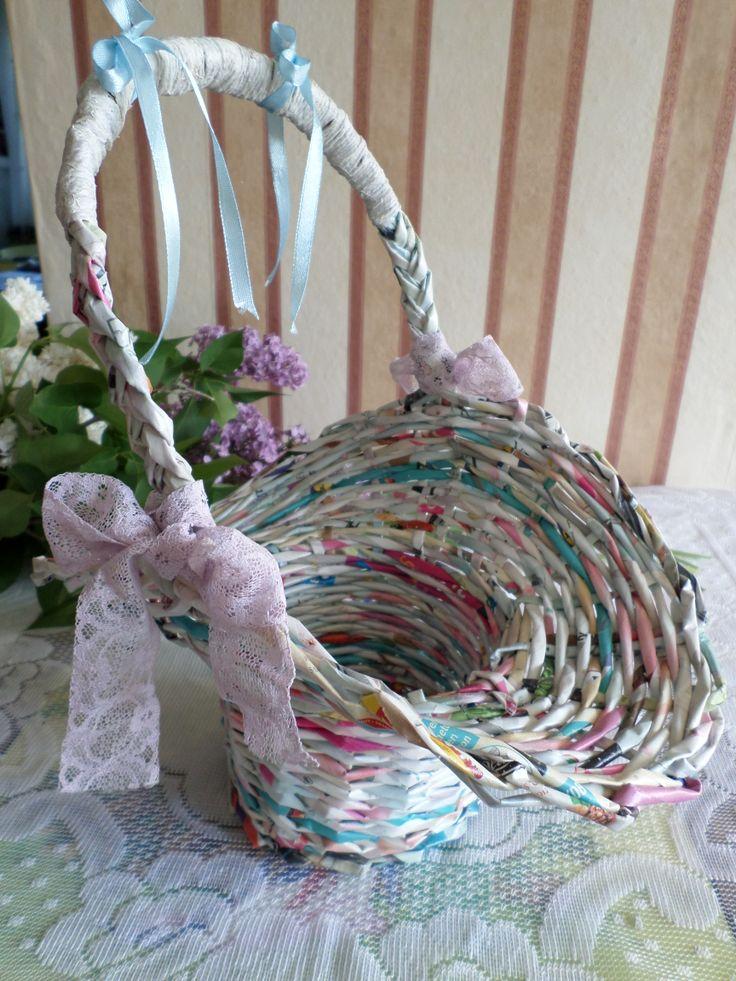 Florentin kosár. Papírfonással, saját munka/Paper weaving, my own work