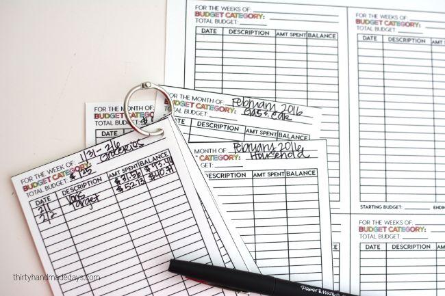Using printable budget cards for cashless cash envelope system from www.thirtyhandmadedays.com