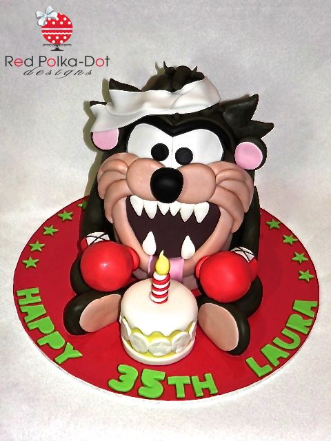 Looney Tunes Boxing Taz (2012) cake, by Red Polka-Dot Designs