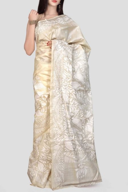 Beige & White Kantha Stitch Tussar Silk Saree