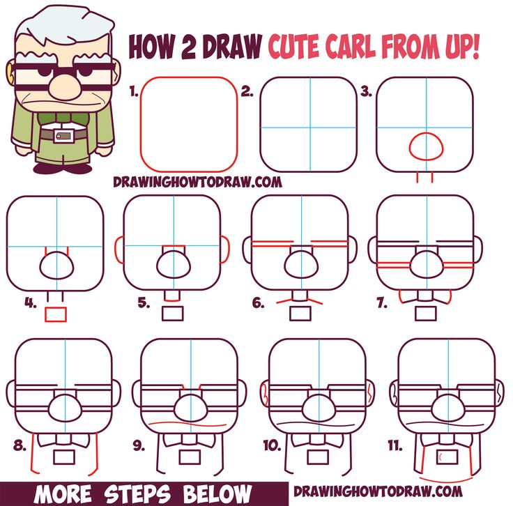 How to Draw Carl Fredricksen the Old Man from Pixar's Up (Cute / Chibi) Easy…