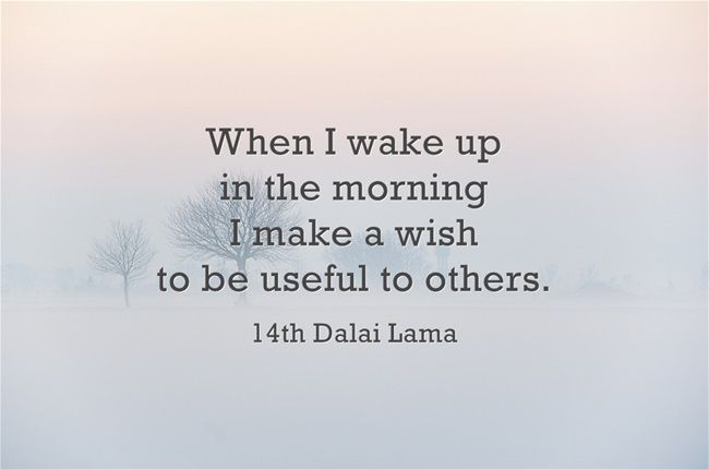 Good morning thought ~ 14th Dalai Lama http://justdharma.com/s/zkxbc  When I wake up in the morning I make a wish to be useful to others.  – 14th Dalai Lama  source: https://twitter.com/DalaiLama