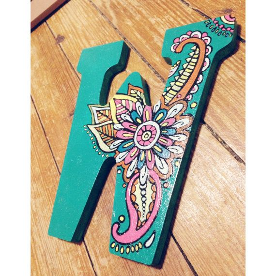 hand painted wooden letters with paisley by SouthernCharmCanvas
