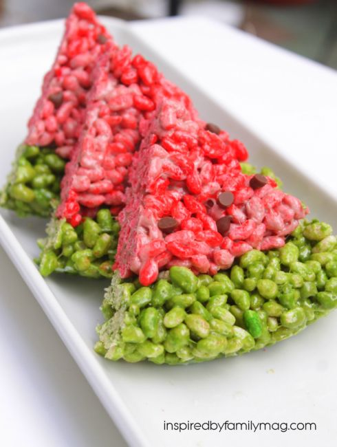 """Watermelon"" Rice Krispies treats - the perfect summer snack"