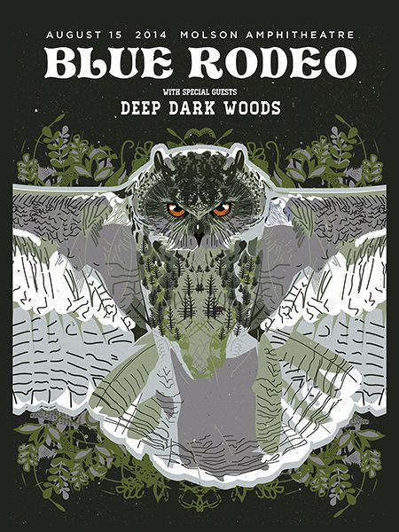 #Gigposter for Blue Rodeo and The Deep Dark Woods (love that band!), design by Jud Haynes.