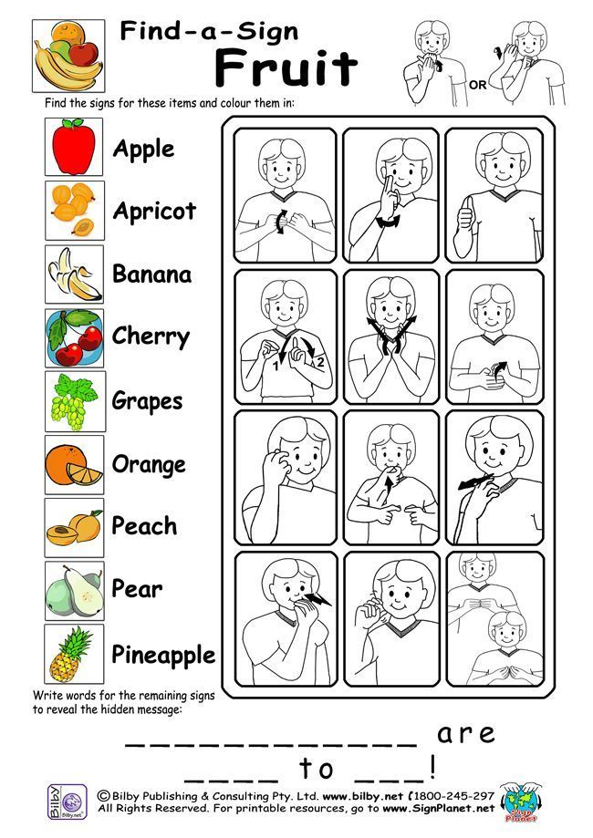 Example of Auslan workshhet- Find a sign FRUIT Topic, from  SignPlanet.net