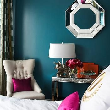 Peacock Blue Paint Colors- Contemporary, bedroom, Benjamin Moore North Sea Green, Adore Magazine