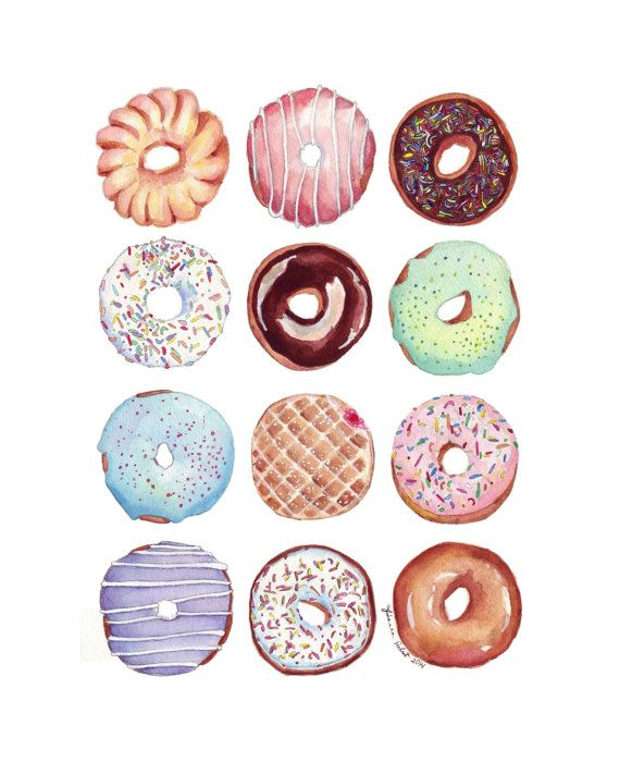 Dozen Donuts Watercolor Painting Print - Doughnuts Art Food Illustration Watercolor Art Print, 11x14 This is a print of my original watercolor painting, my donut masterwork- one dozen donuts! The image is on high quality lustre photo paper with professional inks. This print measures