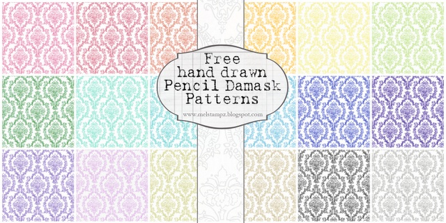19 colour Pencil Damask patterns free