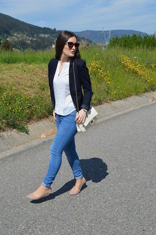 #look #luztieneunblog #2017 #elegante #cita #findesemana #entretiempo #casual #primavera #trendy #clase #compras #diario #chic #verano #sport #skinnyjeans #azul #blue #white #dots #spring #sumer #2017 #blazer #raya