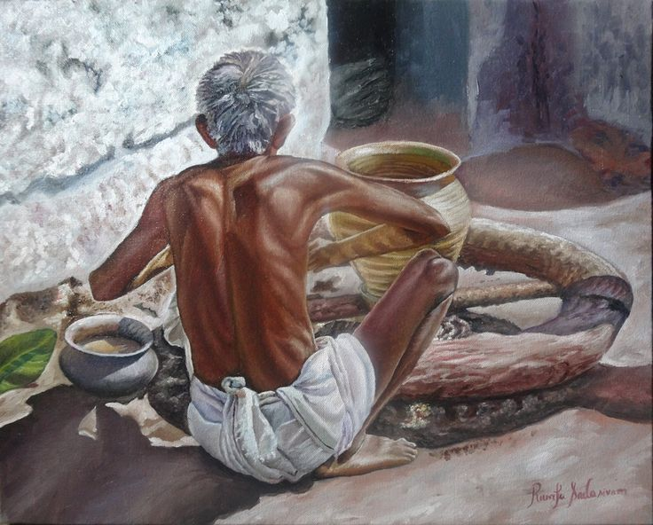 Man Making Pot, 16  & 20 Inches, Oil on Canvas, 6 November, 2015 These people may be the last in the generation of pot making. The market for this vessel has gone down very badly although it is good for health than any aluminium or steal vessels. It keeps the water cool. These pots or any mud vessel or any mud decorative items comes at a very low cost. These pot makers do not have a comfortable life most of the time.