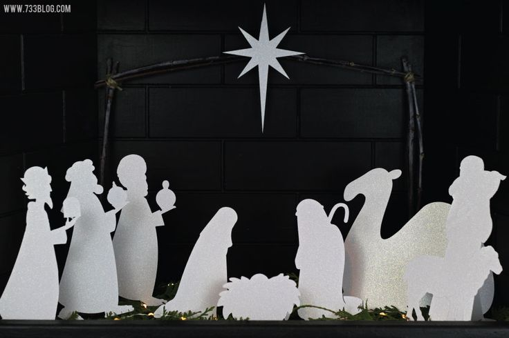 Create this stunning Paper Nativity with 5 sheets of cardstock, a Cricut Explore cutting machine and natural elements from your backyard!