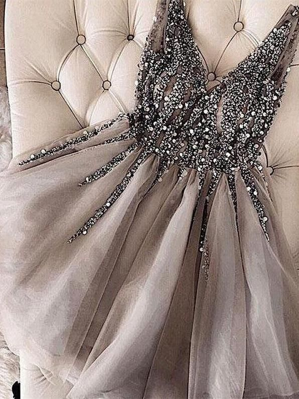 Grey Rhinestone Beaded Homecoming Dresses V Neck Tulle Short Prom Dress ARD1745