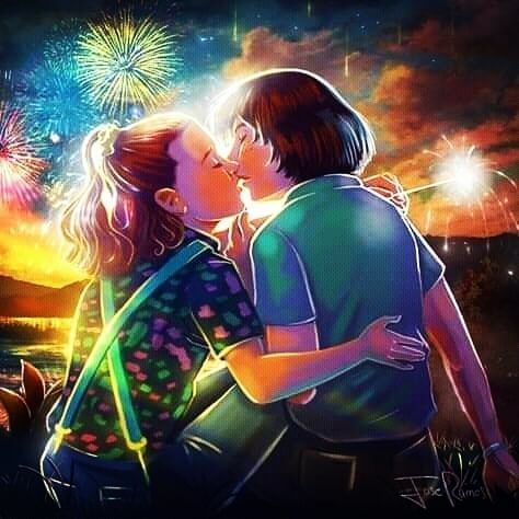 Stranger Things Eleven and Mike Kissing by Jose Ramos, joseramos1972, Season 3, Millie Bobby …