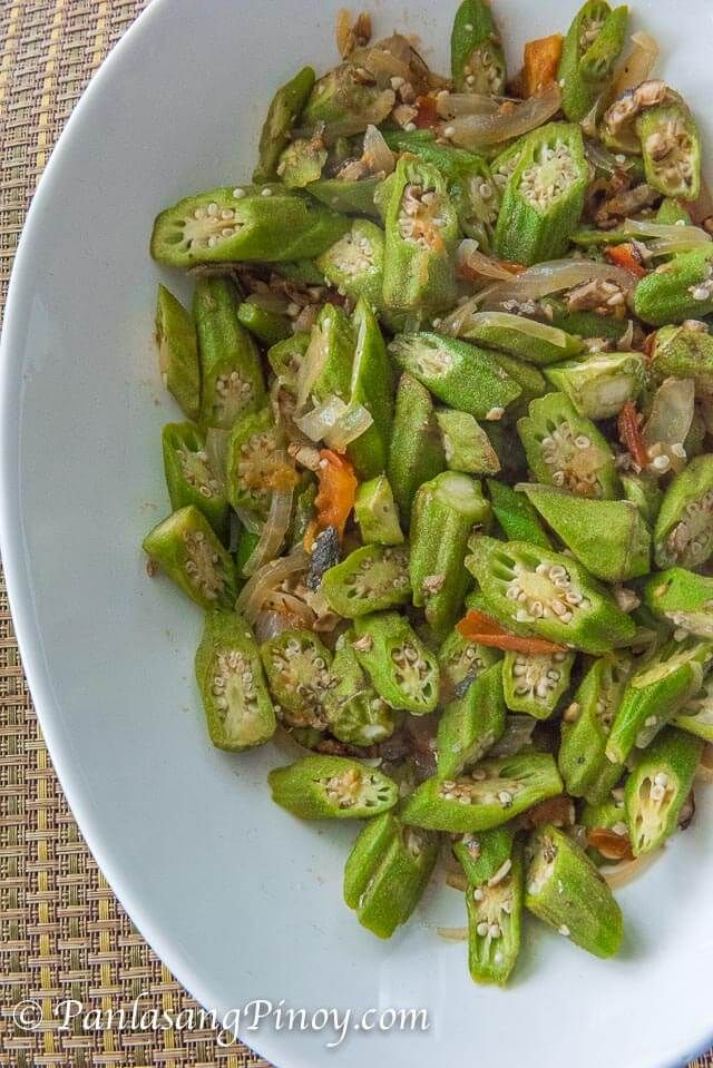 Ginisang Okra with Fish Flakes Recipe