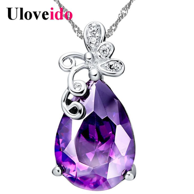 5% Off Butterfly Water Drop Necklaces & Pendants Purple Crystal Brincos Sale Silver Necklace Women Gifts Jewelry Uloveido N450