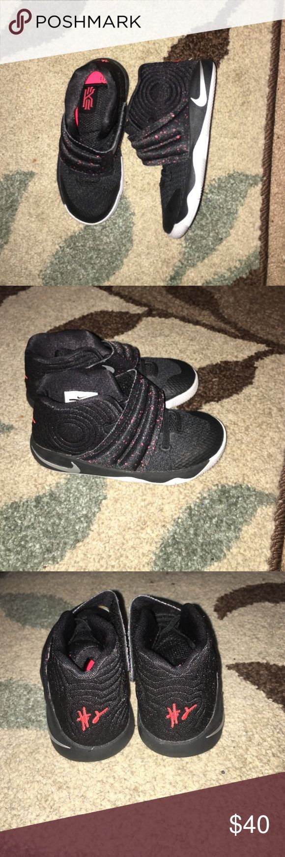 kyrie Irving kids shoes Nike Black,gray,and pink spot Velcro KIDS shoes. Worn 1 time. condition 9 1/2/10 kyrie irving Shoes Sneakers