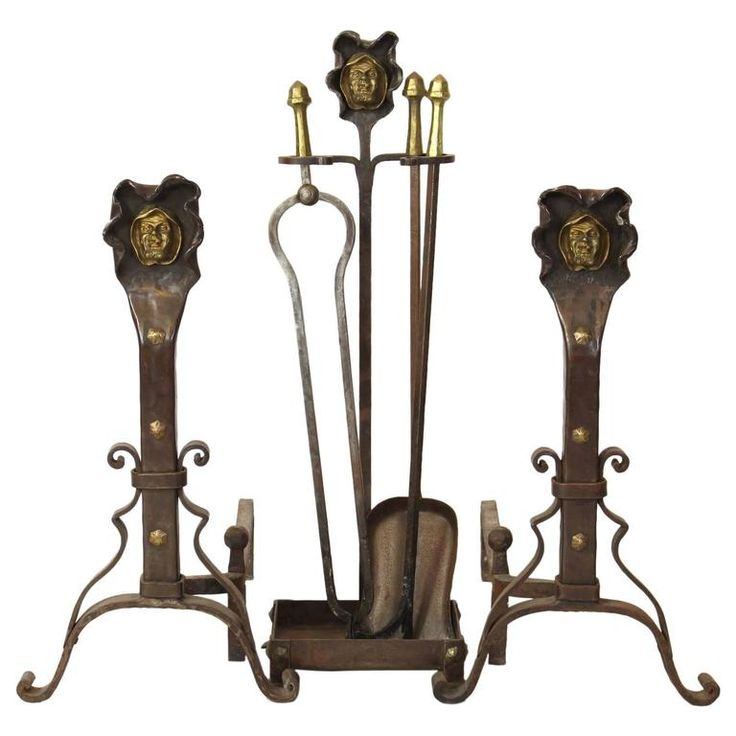 Set of Hand-Forged Steel and Gilt Brass Andirons and Fire Tools | From a unique collection of antique and modern fireplace tools and chimney pots at https://www.1stdibs.com/furniture/building-garden/fireplace-tools-chimney-pots/