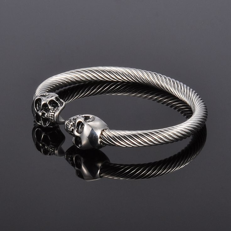 Silver Skull Stainless Steel Unisex Bracelet //Price: $13.99 & FREE Shipping //     #skull #skullinspiration #skullobsession #skulls