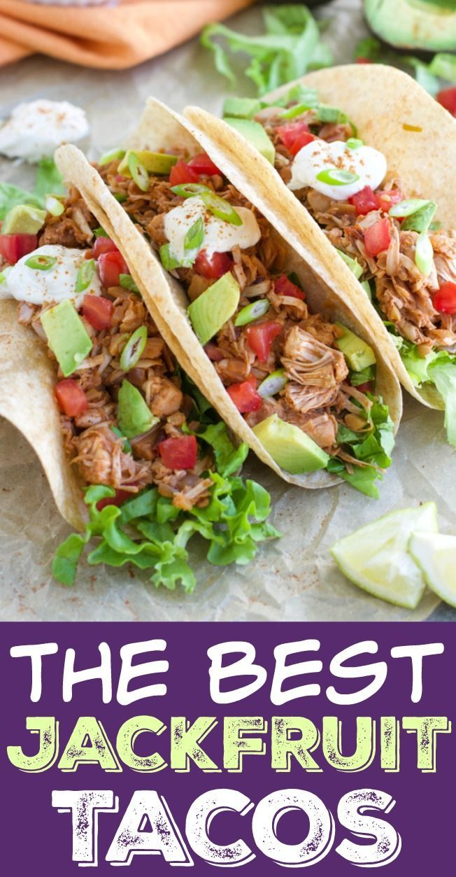 These Super Flavorful Jackfruit Tacos Are Easy To Make Ready In 30 Minutes And Only Require One Pan Vegan Glut Jackfruit Tacos Jackfruit Recipes Jackfruit