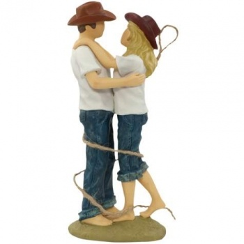 Casual Lasso Of Love Western Wedding Cake Topper Figurine