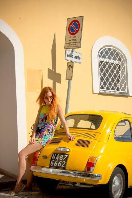 yellow vintage fiat 500