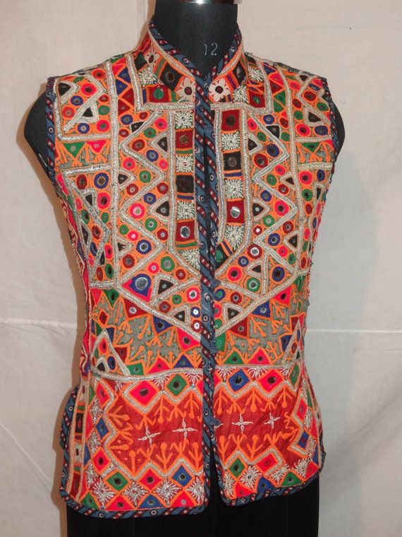 VINTAGE mirror work jackets piece from india by jaisalmerhandloom