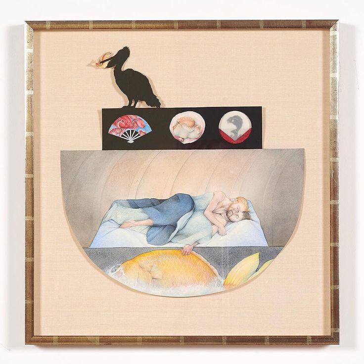 """Tom Knechtel """"The Flood"""" 1979 gouache and collage on paper 18.5"""" x 18"""". Part of his survey exhibition """"The Reader of His Own Self"""" at CB1 Gallery on view through October 30. .  http://cb1.co/7t . """"Knechtel began to explore the fantastical qualities of human and animal figures at a time when painting was making a hard turn toward the minimal. And while his subjects often include modern subjects  contemporary evocations of gender identity and gay desire  he does so employing techniques…"""