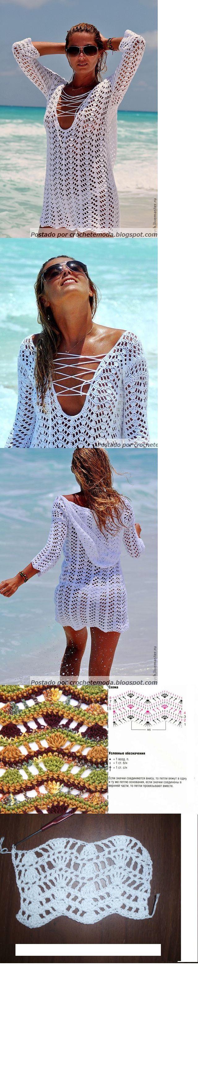 White Hoodie Beach Coverup free crochet graph pattern