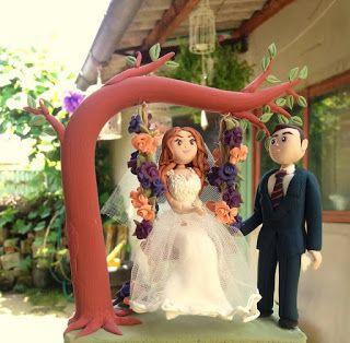 figurina pentru tort cu leagan, handmade