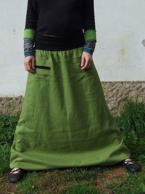 Lněné olivově zelené turky