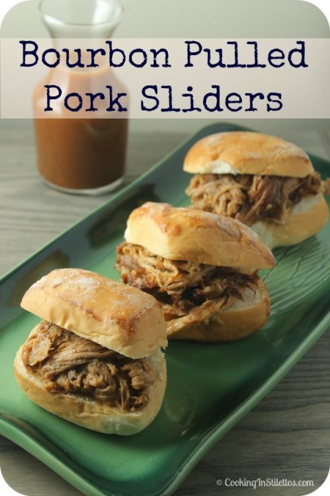 Pour bourbon sauce over pulled pork and serve between slider rolls for a flavorful, mini sandwich. Get the recipe at Cooking in Stilettos.