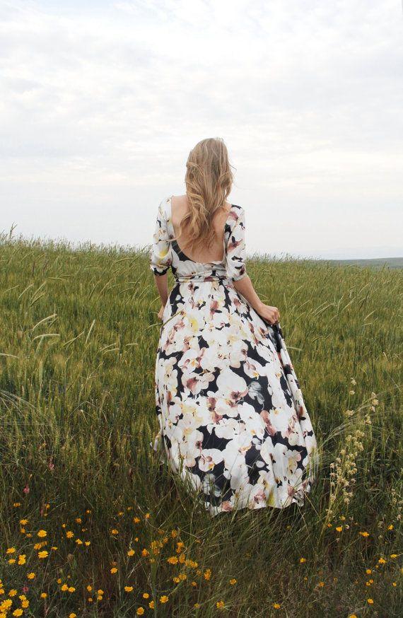 Floral Silky Chiffon-Maxikleid mit Schaufel zurück von NelliUzun