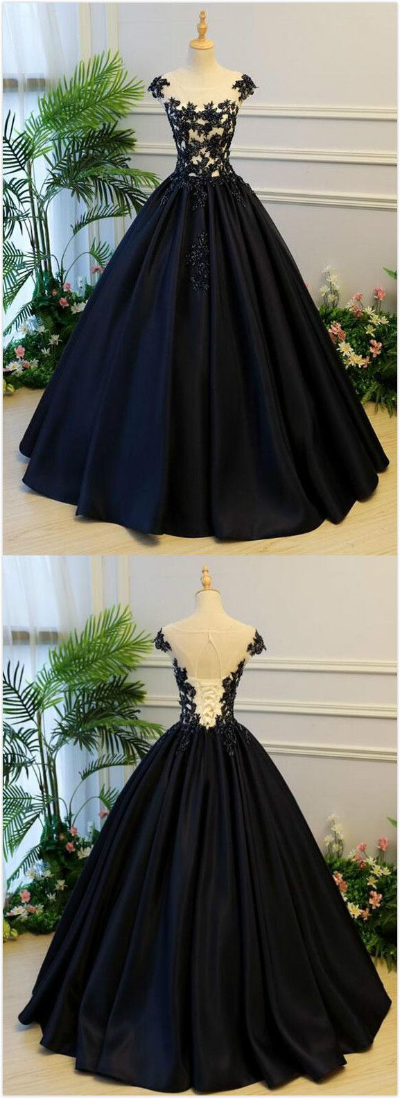 Generous Prom Dress,Ball Gown Prom Dress,Stain Prom Dress,Long Party Dress,A-Line Round Neck Cap Sleeves Prom Dress, Lace-up Back Black Long Prom/Evening Dress with Beading