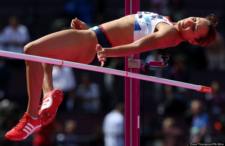Great Britain's Jessica Ennis competes in the high jump during the Heptathlon at the Olympic Stadium, London.