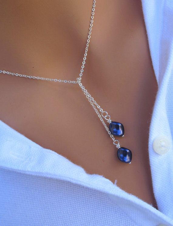 Swarovski Pearl Lariat Necklace in STERLING SILVER. Bridesmaids Gift. Bridal. Wedding. Formal. on Etsy, $24.00