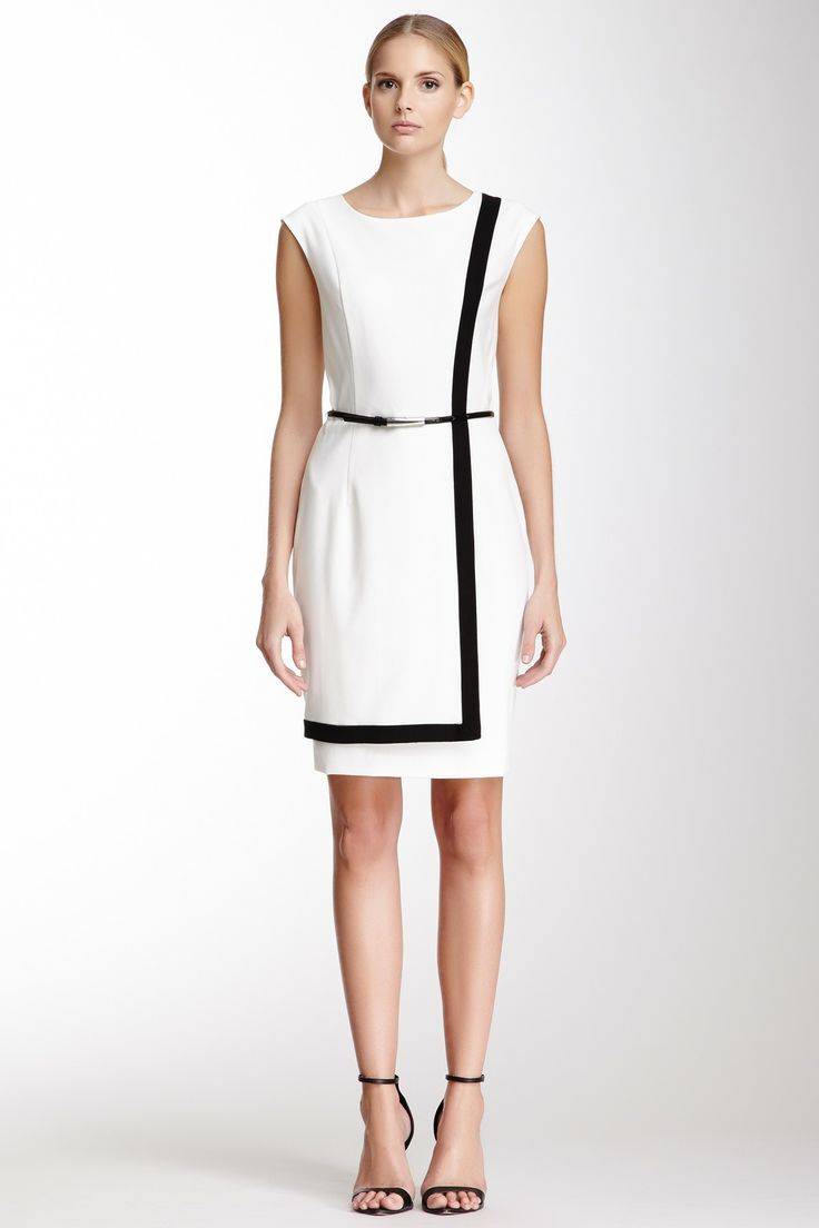 Calvin Klein Sleeveless Contrast Trim Dress