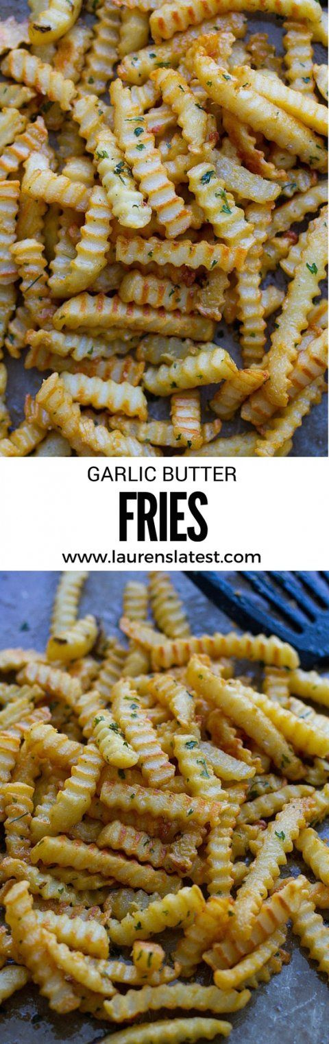 Garlic Butter Fries?!?! Um, YES. I need these in my life. Homemade garlic butter tossed with crinkle cut fries!